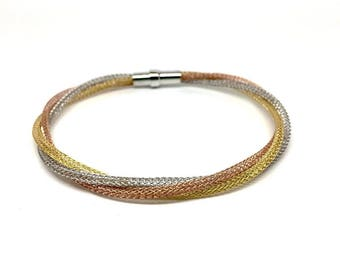 Women's Jewellery 925 Sterling Silver Bracelet with magnetic closure. Rose Gold, Silver and Gold Bracelet. Italian Design. Gift box included