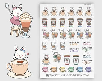 Bunny Coffee Sticker | coffee first | coffee reminder | ECLP | Happy Planner | Kikki K | coffee planner | personal planner sticker | BNY-014