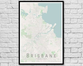 Brisbane Queensland Street Map Print | Wall Art Poster | Wall decor | A3 A2