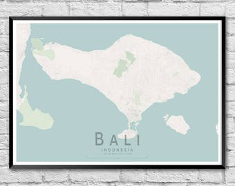 BALI Map Print | Indoneasia Map Poster | Island Map Wall Art Poster | Wall decor | A3 A2