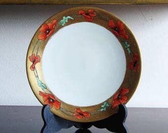 Art Nouveau Jean Pouyat Limoges Hand-Painted Gold Band Plate with Poppies Artist Signed E Snow Antique