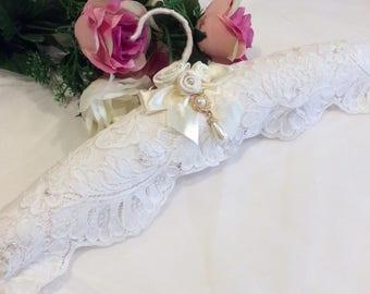 Wedding Dress Hanger, Lace Hanger, Bridal Dress Hanger, Elegant Hanger, Bride Hanger, Bride dress hanger, Padded Lace Hanger, Bridal Gift