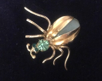 Vintage Green Rhinestone and Cabochon Insect Pin Bug Brooch