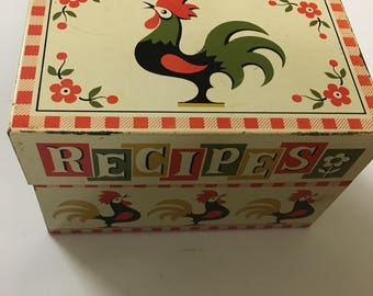 Vintage farmhouse  rooster recipe box