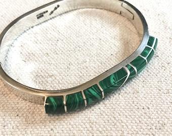 Vintage 80s Taxco Mexico Sterling Bangle Bracelet with Malachite