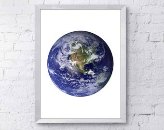 Blue Marble North America Print, Blue Earth Printable, Planet Earth Printable, Earth from Space Printable, Blue Marble Next Generation Print