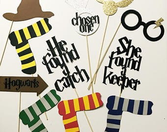 11 piece Glitter Harry Potter Themed Party Photo Booth Props // Wedding, Couples Shower, Muggle Team Bride Chosen One She Found a Keeper