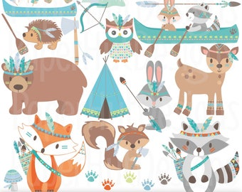 Tribal Animals Clipart-Woodland Animals Camping Clip Art-Cute Tribal Forest Animals-Fox-Bear-Rabbit-Racoon-Owl-Deer-Canoe-Arrows-Feathers