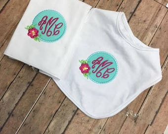Girls monogrammed bib and burp set