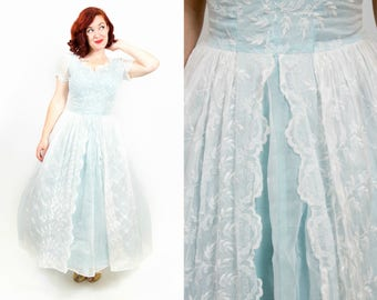 1950s Ice Blue and White Eyelet Dress - Small