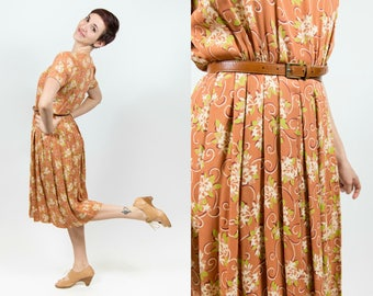 1940s Warm Brown Rayon Dress with Floral Print -