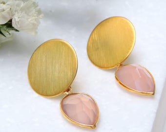 Pink quartz stone Earrings with Silver 925