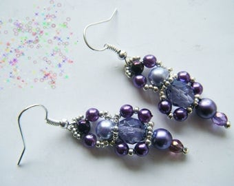 Purple/violet and silver Pearl Earrings