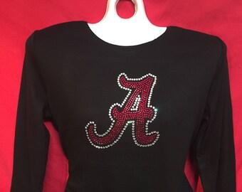 Alabama Rhinestone crystal womens football logo. SHORT LONG Sleeve Misses S, M, L, XL, Plus size 1x, 2X, 3X shirts