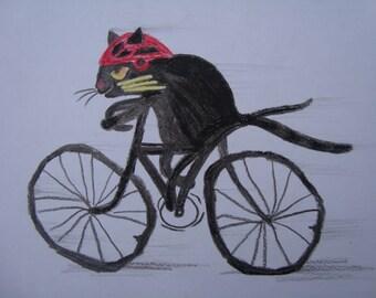 Original design-Cat cycling-cat painting-Black Cat