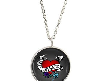 Husband Tattoo Pendant and Silver Plated Necklace
