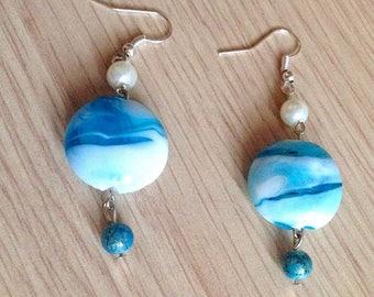White Pearl drop earrings blue