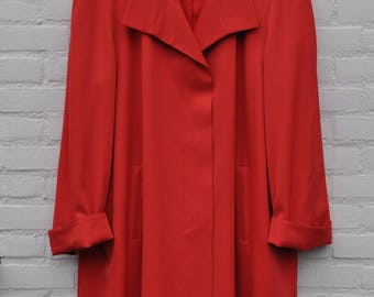 Tomato red oversized summer coat 1980s. Woolblend. Size Large. Free shipping!