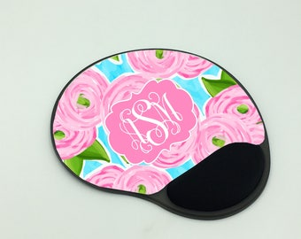 Personalized Gel Mouse Pad w With Wrist Rest |  Monogram Mouse Pad | Office Accessory | Co-Worker Gift | Personalized Gift