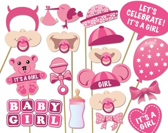 Baby Shower Photo Props - It's a Girl Photo Booth Props - Printable Photo Booth Props - Baby Girl Printable Party Props - 0169