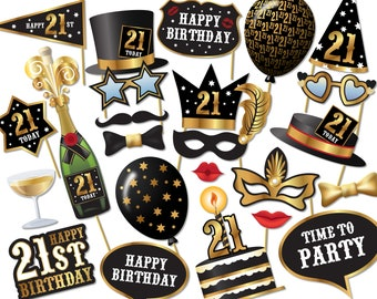 21st birthday Photo Booth props - Instant Download printable PDF. 21st birthday party decorations. Photobooth supplies. 21 Today - 0173