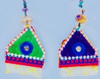 NonIdentical Earrings Yazd Boho Sequin Mirror Design Fabric Jewelry Lace Unusual Sparkle Green Purple Blue
