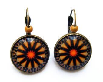Yellow mandala earrings, costume jewelry bronze