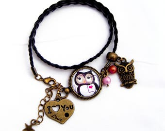 Bracelet with Brown and pink OWL cabochon