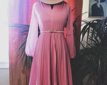 Rose Pink Dress with Chevron Detail and Sheer Sleeves