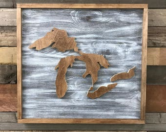Great Lakes Wood Map Sign