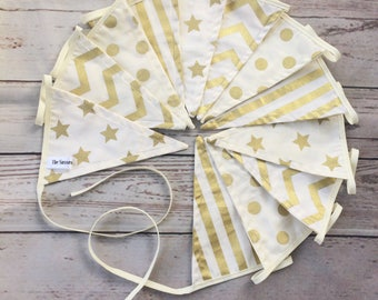 Gold & Cream Bunting, Double Sided Luxury Pennants, Wedding Decor, Home Decor, Christmas Bunting 2.5m/3m long
