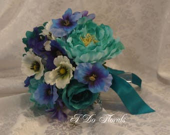 Turquoise Brides Bouquet, Multi Flower Wedding Bouquet, Bridesmaid Bouquet, Green Wedding Flowers, Winter Bridal Bouquet, Blue Bride Bouquet
