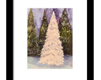 Art print, tree painting, pine tree, christmas art , tree art, white tree art, nature art, winter landscapes, spiritual art