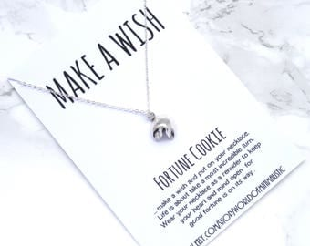 Fortune Cookie minimalist necklace, dainty delicate wish necklace, simple everyday good luck necklace, minimalist jewelry, wish jewelry