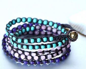 Wrap Bracelet, Bohemian Bracelet, Beach Beaded Bracelet, Beaded Necklace, Anklet, Gypsy Bracelet, Gift Bracelet, Multifunctional (A/B2)