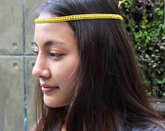 Yellow Head Band, Wrap Bracelet, Boho Bracelet, Beach Beaded Necklace, Wrap Anklet, Casual Beaded Jewelry, Gypsy Style Jewelry,(A/B7)