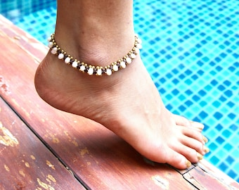 Beach Anklet, Natural Pearls Anklet, Bohemian Anklet, Woven Anklet, Summer Wear Jewelry, Gypsy Anklet, Unisex Anklet, White Anklet (A50)