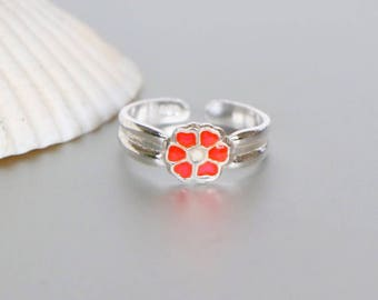 Flower Toe Ring, Silver Toe Ring, Red And Silver Toe Ring, Minimalist Toe Ring, Simple Toe Rings, Gift For Her, Toe Band, Bohemian, (TS86)