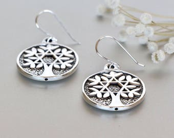 Sterling Silver Tree Of Life Danglers,Silver Earrings, Bohemian Jewelry, Earrings For Good Luck, Gift Earrings, Valentines Gift  (E148)