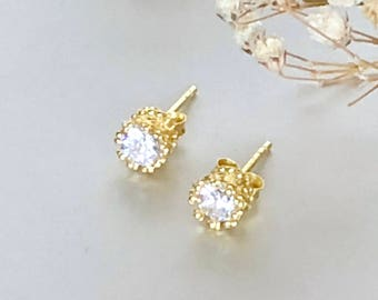 Cubic Zirconia Gold Earrings, Pretty Ear Studs, Diamante Ear Studs, Simple Earings, Minimalist Ear Studs, Gifts For Her, E203