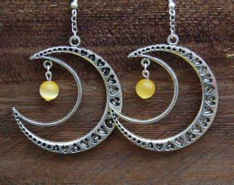 original earrings moon with yellow cats eye beads
