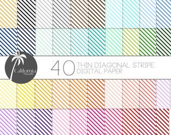 FREE COMMERCIAL USE Thin Diagonal Stripe Digital Paper Set - Set of 40 - Diagonal Stripes - Stripe Digital Paper - Digital paper - Scrapbook