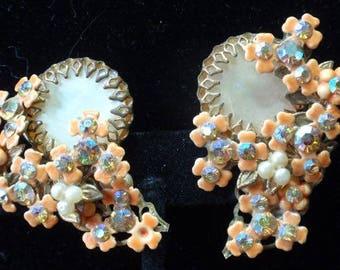 Costume Shimmering Orange Flower Clip Earrings