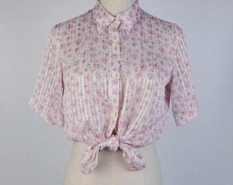 Vintage Blouse, Pink Flower Print Flat Collar Short Sleeves Women Blouse Size S-M