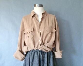 vintage silk blouse/ minimalist silk shirt/ button down blouse/ 80s shirt/ silk top women's size M/L