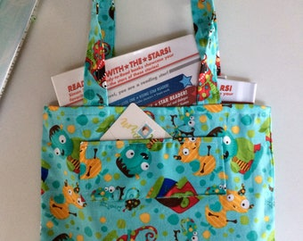 children's monster library tote bag