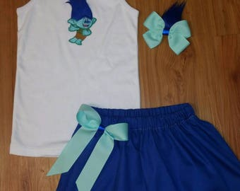 Branch skirt, branch set, trolls set, trolls skirt, branch hair bow, Customized with name shirt available too.