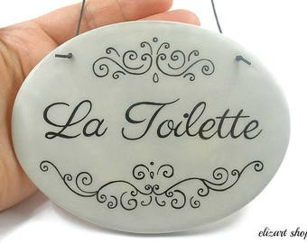 La Toilette sign, toilet sign, bathroom sign, bath sign, hanging bath sign, restroom sign, WC sign, powder room sign, bath door sign, loo