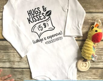 """Handmade, Personalized """"Hugs and Kisses (College is Expensive)"""" One Piece Bodysuit Baby Shower Gift 