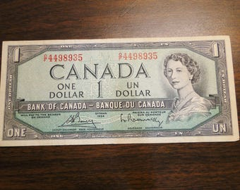 1954 Canada 1 One Dollar Note - Very Nice!
